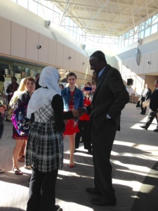 Indiana students talk with WFP Laureate Gabisa Ejeta.